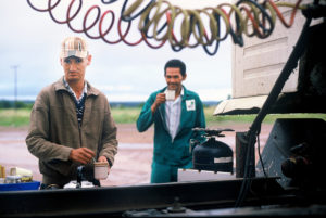 Truck drivers on coffee break