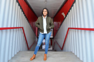 Fashion model stands at 27 Boxes