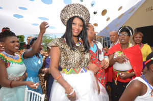 Traditional Zulu bride and confetti