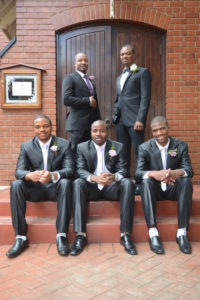 Groom with four groomsmen
