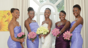 Bride and 4 bridesmaids with bouquets