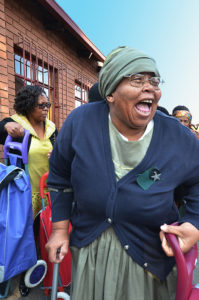 Happy seniors at the COJ gogo lunch event Alexandra Johannesburg 2016