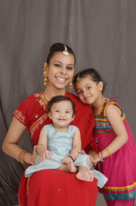 Indian mom and 2 daughters family photo