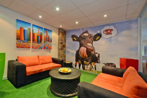 Cow wallpapered room in offices