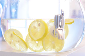 Lemon slices in water dispenser