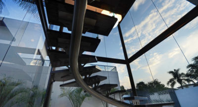 Staircase with glass and sky