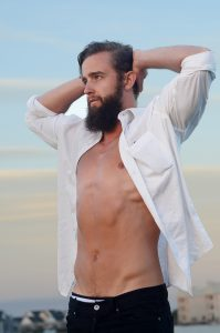 White male model with open shirt